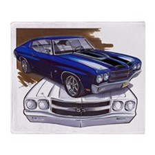 1970 Chevelle Blue-Black Car Throw Blanket