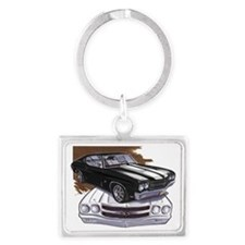 1970 Chevelle Black-White Car Landscape Keychain