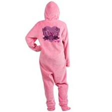 dance forever purple heart copy Footed Pajamas