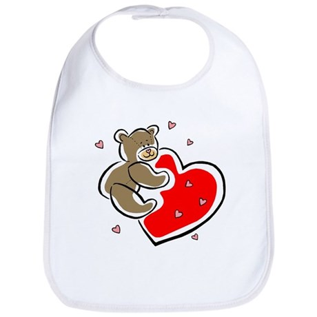 Teddy Bear with Heart Bib