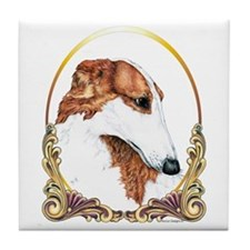 Borzoi Christmas/Holiday Tile Coaster
