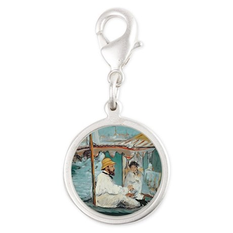 Monet in his Floating Studio, Silver Round Charm