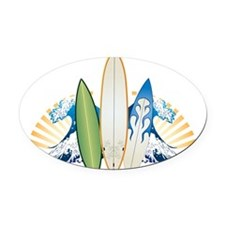 surfboard1 Oval Car Magnet