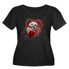 Valentin Women's Plus Size Dark Scoop Neck T-Shirt
