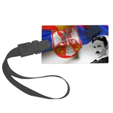 Serbia Flag w Tesla Luggage Tag