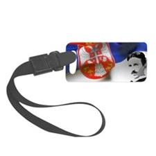 Serbia Flag w Tesla Small Luggage Tag