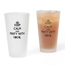 Keep Calm and Party with Nikhil Drinking Glass