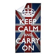 Keep Calm And Carry On with Union Jack Beach Towel