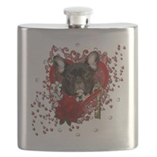 Valentine_Red_Rose_French_Bulldog_Teal Flask