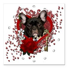 "Valentine_Red_Rose_Frenc Square Car Magnet 3"" x 3"""