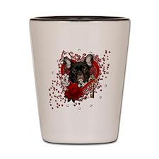 Valentine_Red_Rose_French_Bulldog_Teal Shot Glass