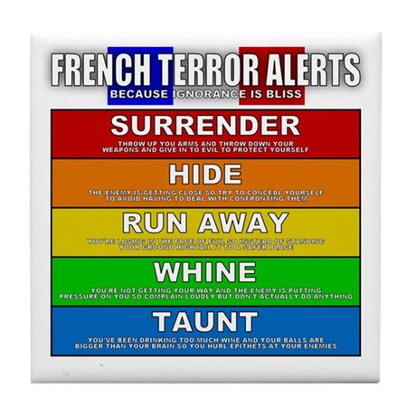 French Terror Alert Tile Coaster