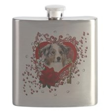Valentine_Red_Rose_Australian_Shepherd Flask