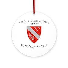 1st Bn 7th FA Round Ornament