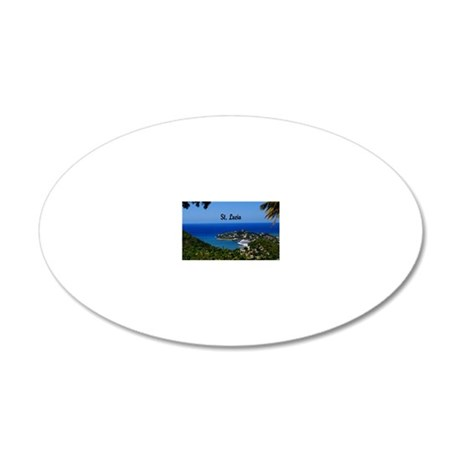 St Lucia 8x6 20x12 Oval Wall Decal