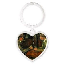 The Card Players by Paul Cezanne Heart Keychain