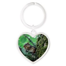 Chipmunk In A Tree Eating Heart Keychain