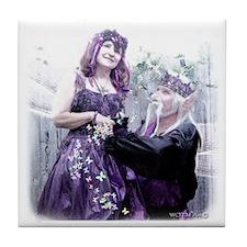 Purple Faerie King & Queen Tile Coaster