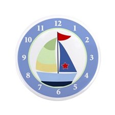 "Sailboat Wall Clock 3.5"" Button"