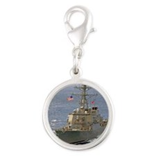 barry ddg note card Silver Round Charm