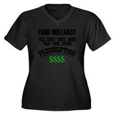 Four Dollars Women's Plus Size Dark V-Neck T-Shirt