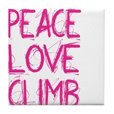 peace love climb pink white Tile Coaster