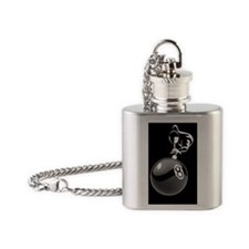 8 ball man_white tile box Flask Necklace