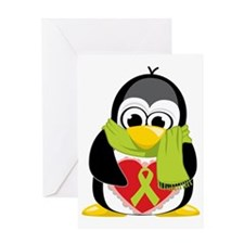 Lime-Green-Ribbon-Penguin-Scarf Greeting Card