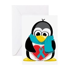 Teal-Ribbon-Penguin-Scarf Greeting Card