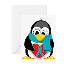 Teal-Ribbon-Penguin-Scarf Greeting Card