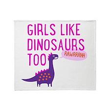 Girls Like Dinosaurs Too RAWRRHH Throw Blanket