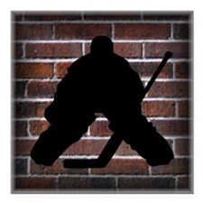 "Hockie Goalie Brick Wall Square Car Magnet 3"" x 3"""