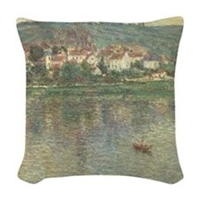 Vetheuil, by Claude Monet Woven Throw Pillow