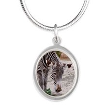 Zebra Silver Oval Necklace