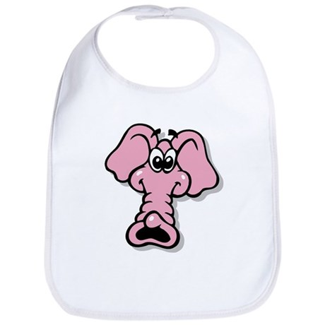 Pink Elephant Cartoon Bib