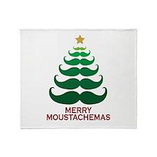 Moustachemas Christmas Tree Throw Blanket