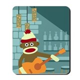 Sock Monkey Acoustic Guitar Player Mousepad