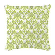 Green Damask Woven Throw Pillow