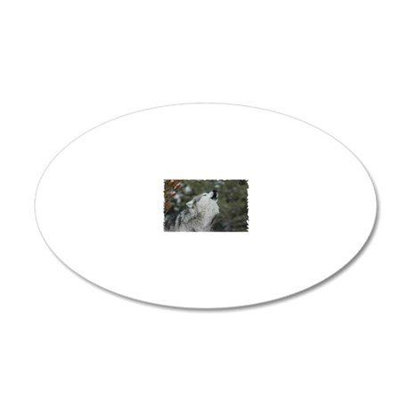 x14wht Christmas Wolf 20x12 Oval Wall Decal