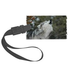 x14wht Christmas Wolf Luggage Tag