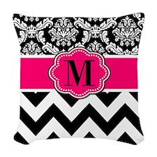 Pink Black Damask Chevron Woven Throw Pillow