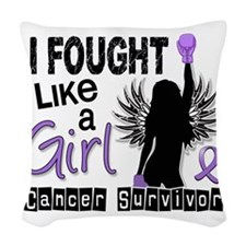 I Fought Like A Girl 26S Hodgk Woven Throw Pillow