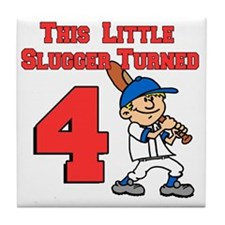 Little Slugger Turned 4 Tile Coaster