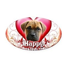 Happy Valentines Day Bull Mastiff Oval Car Magnet