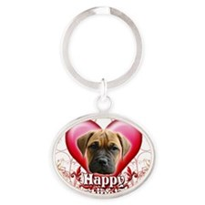 Happy Valentines Day Bull Mastiff Oval Keychain