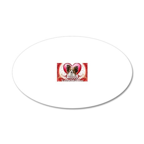 Happy Valentines Day Papillo 20x12 Oval Wall Decal