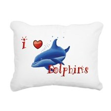 I-love-dolphins-long Rectangular Canvas Pillow