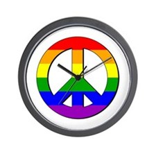 Gay Pride Peace Sign Wall Clock