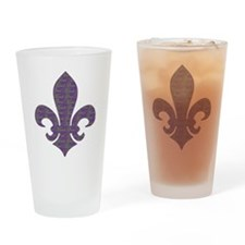 mardi gras words fleur de lis Drinking Glass