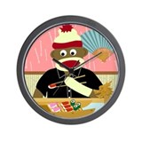 Sock Monkey Sushi Boat Wall Clock